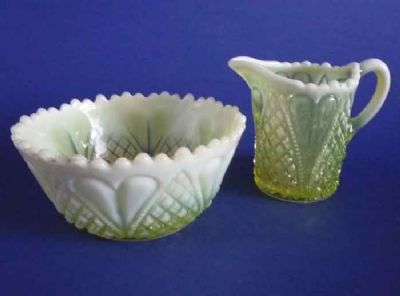 Davidson's Yellow Pearline Glass 'William and Mary' Jug and Bowl c1905